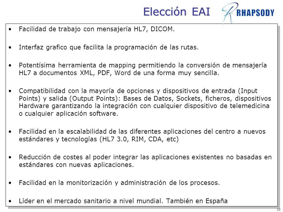 33 Elección EAI Facilidad de trabajo con mensajería HL7, DICOM. Interfaz grafico que facilita la programación de las rutas. Potentísima herramienta de