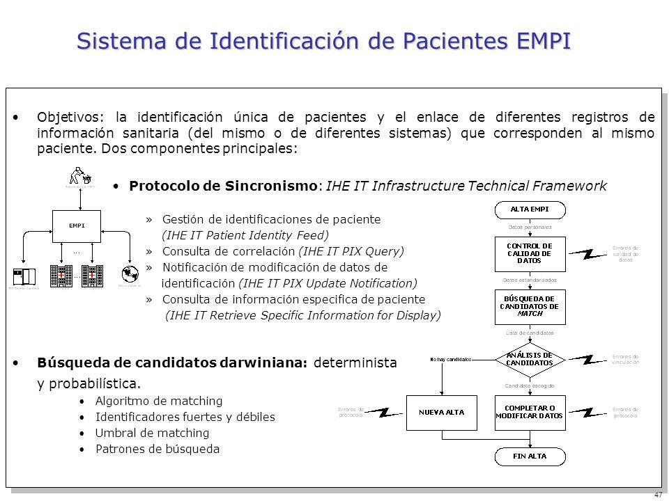 47 Sistema de Identificación de Pacientes EMPI Objetivos: la identificación única de pacientes y el enlace de diferentes registros de información sani