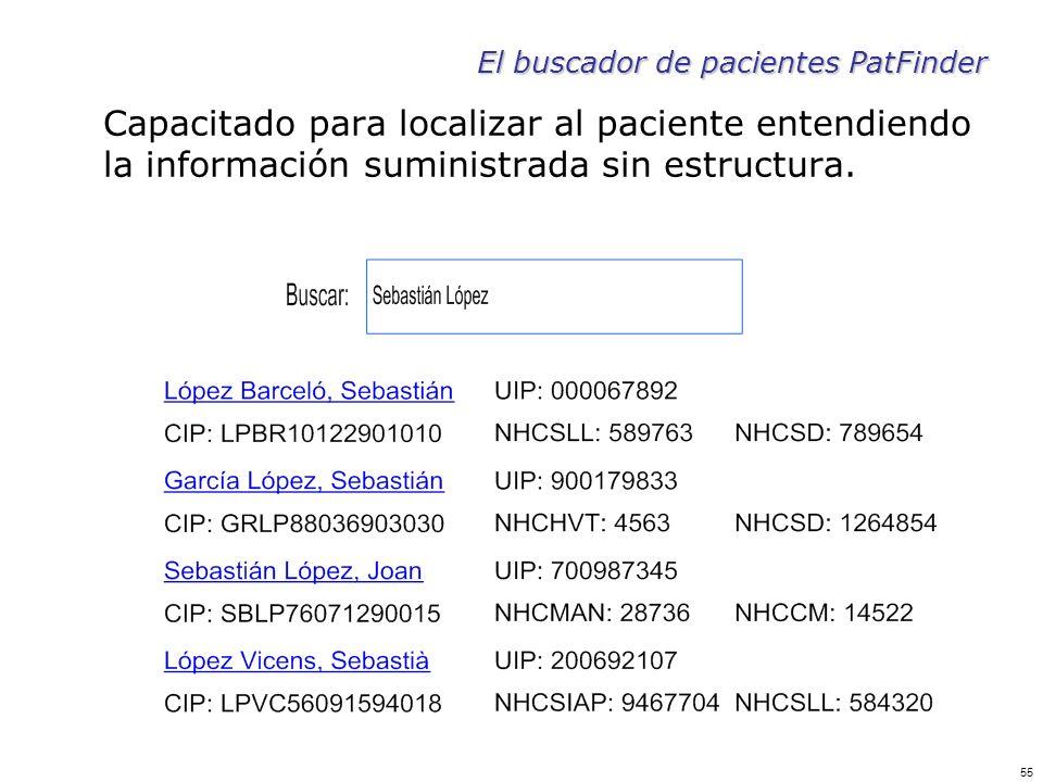 55 El buscador de pacientes PatFinder Capacitado para localizar al paciente entendiendo la información suministrada sin estructura.