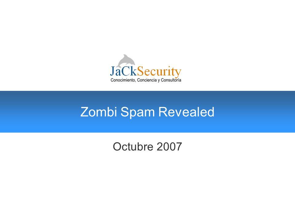 JaCkCast Oficiales de Seguridad JaCkSecurity © 2004 - 2007, Zombi SPAM al descubierto 22 Visión global La diapositivas anteriores permiten dibujar perfectamente el poder computacional de la botnet contratada para emitir éste spam.