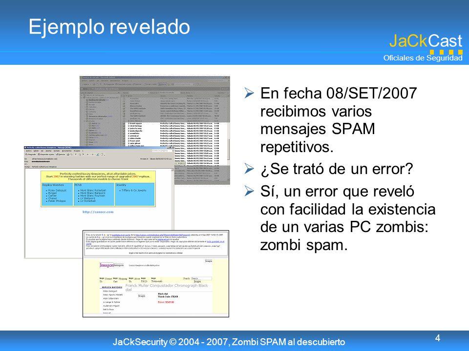 JaCkCast Oficiales de Seguridad JaCkSecurity © 2004 - 2007, Zombi SPAM al descubierto 4 Ejemplo revelado En fecha 08/SET/2007 recibimos varios mensajes SPAM repetitivos.