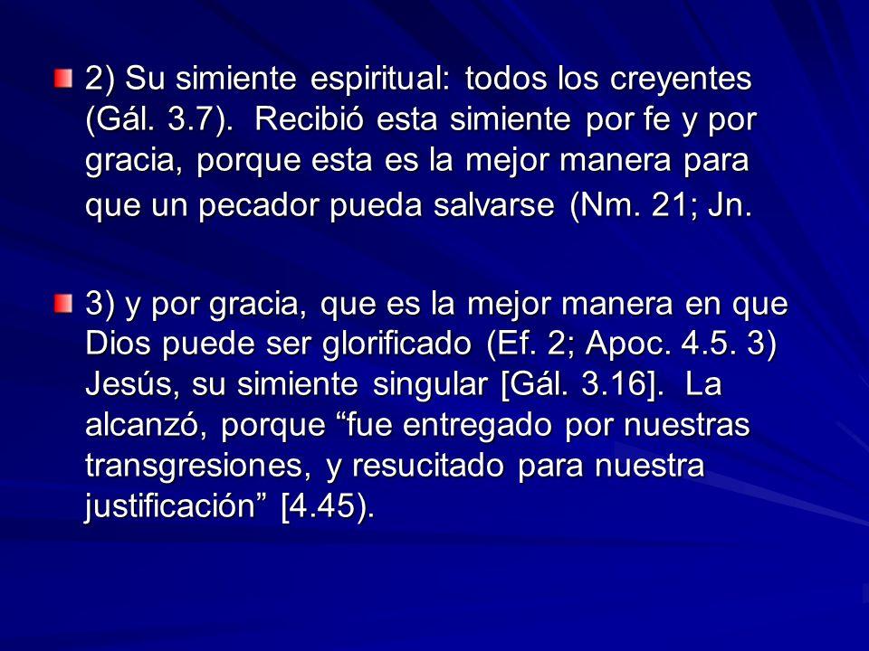 2) Su simiente espiritual: todos los creyentes (Gál. 3.7). Recibió esta simiente por fe y por gracia, porque esta es la mejor manera para que un pecad