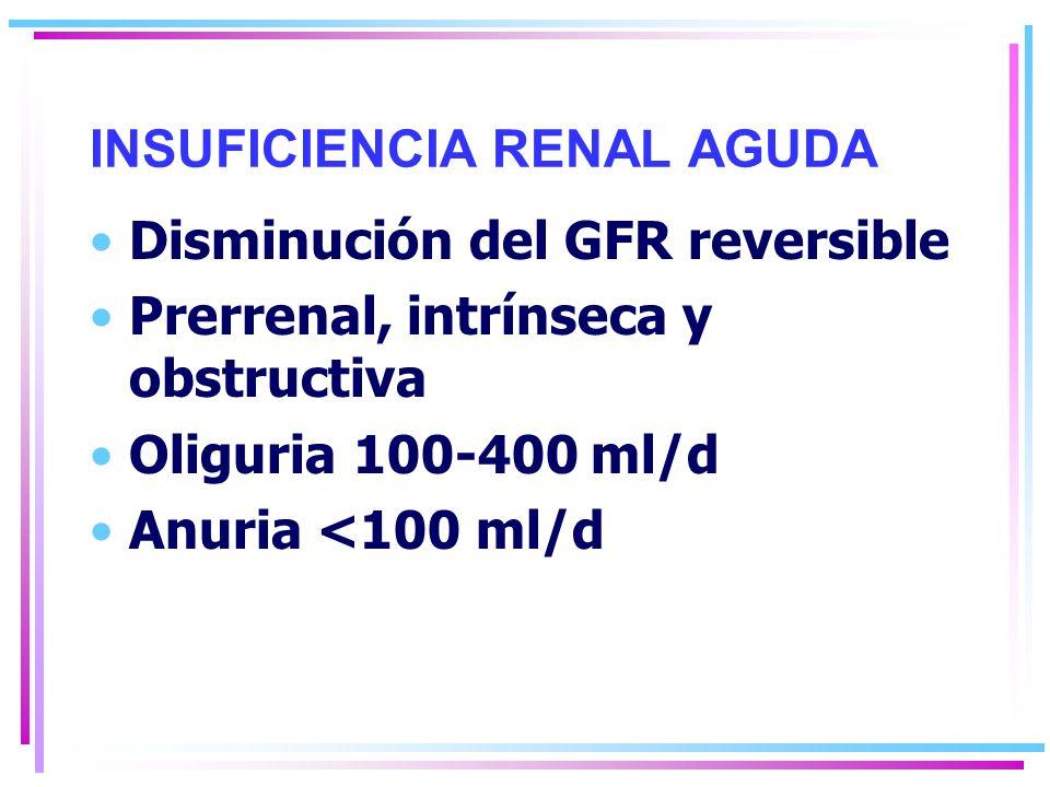 INSUFICIENCIA RENAL AGUDA Disminución del GFR reversible Prerrenal, intrínseca y obstructiva Oliguria 100-400 ml/d Anuria <100 ml/d