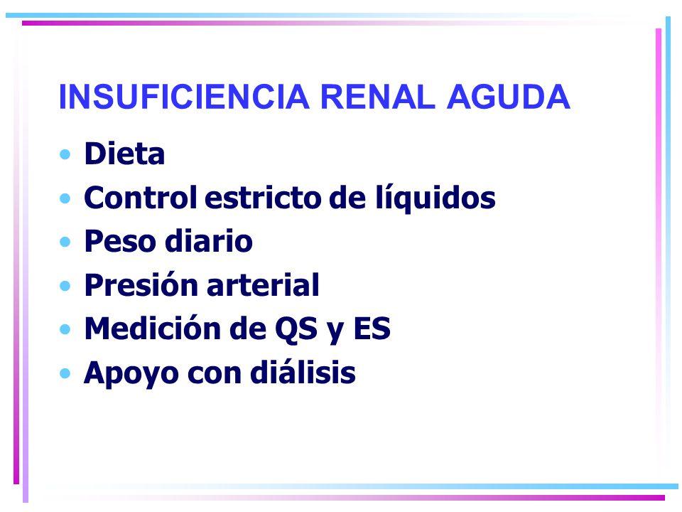 INSUFICIENCIA RENAL AGUDA Dieta Control estricto de líquidos Peso diario Presión arterial Medición de QS y ES Apoyo con diálisis