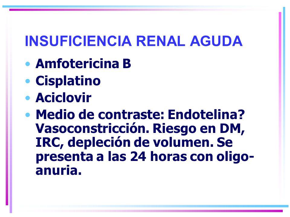 INSUFICIENCIA RENAL AGUDA Amfotericina B Cisplatino Aciclovir Medio de contraste: Endotelina.