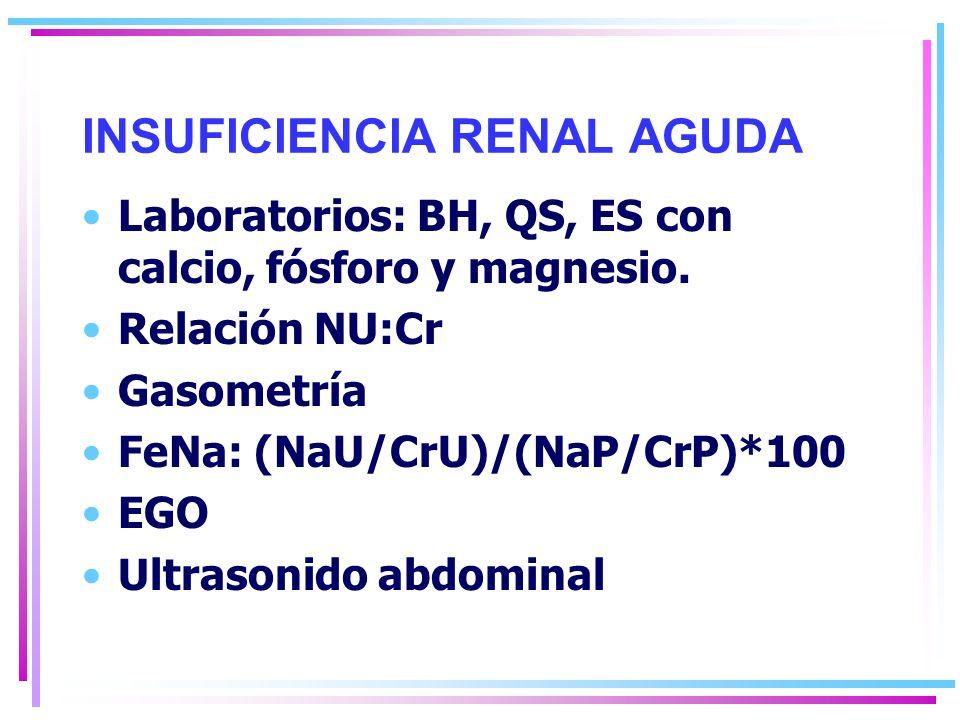INSUFICIENCIA RENAL AGUDA Laboratorios: BH, QS, ES con calcio, fósforo y magnesio.