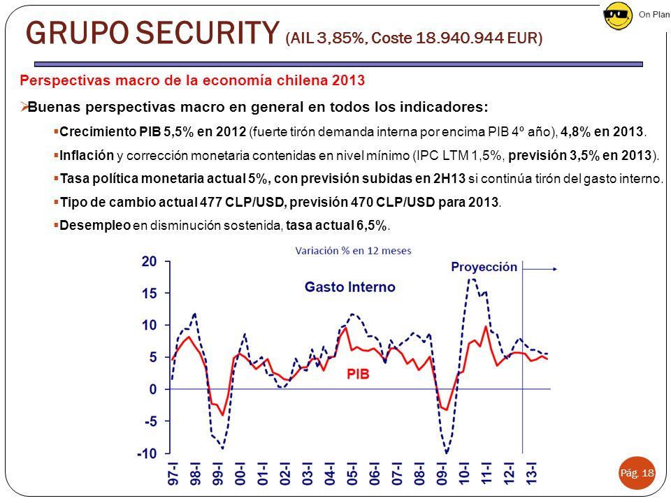 Pág. 18 Perspectivas macro de la economía chilena 2013 Buenas perspectivas macro en general en todos los indicadores: Crecimiento PIB 5,5% en 2012 (fu