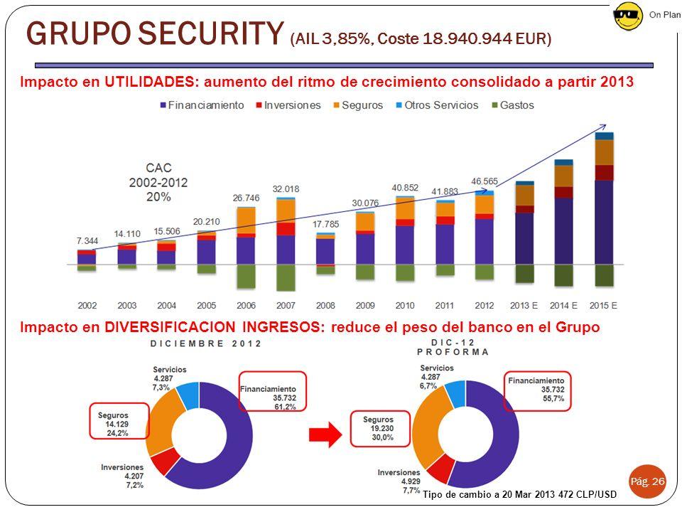 Pág. 26 Impacto en UTILIDADES: aumento del ritmo de crecimiento consolidado a partir 2013 Impacto en DIVERSIFICACIÓN INGRESOS: reduce el peso del banc
