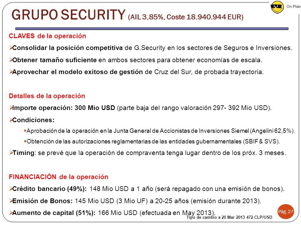Pág. 27 CLAVES de la operación Consolidar la posición competitiva de G.Security en los sectores de Seguros e Inversiones. Obtener tamaño suficiente en