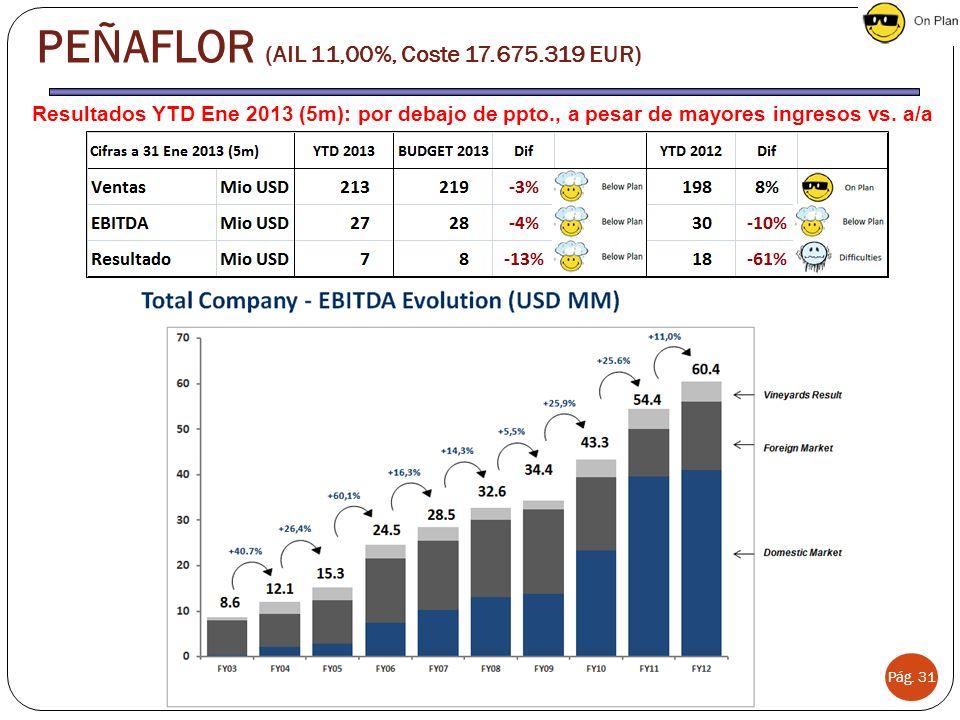 Resultados YTD Ene 2013 (5m): por debajo de ppto., a pesar de mayores ingresos vs.