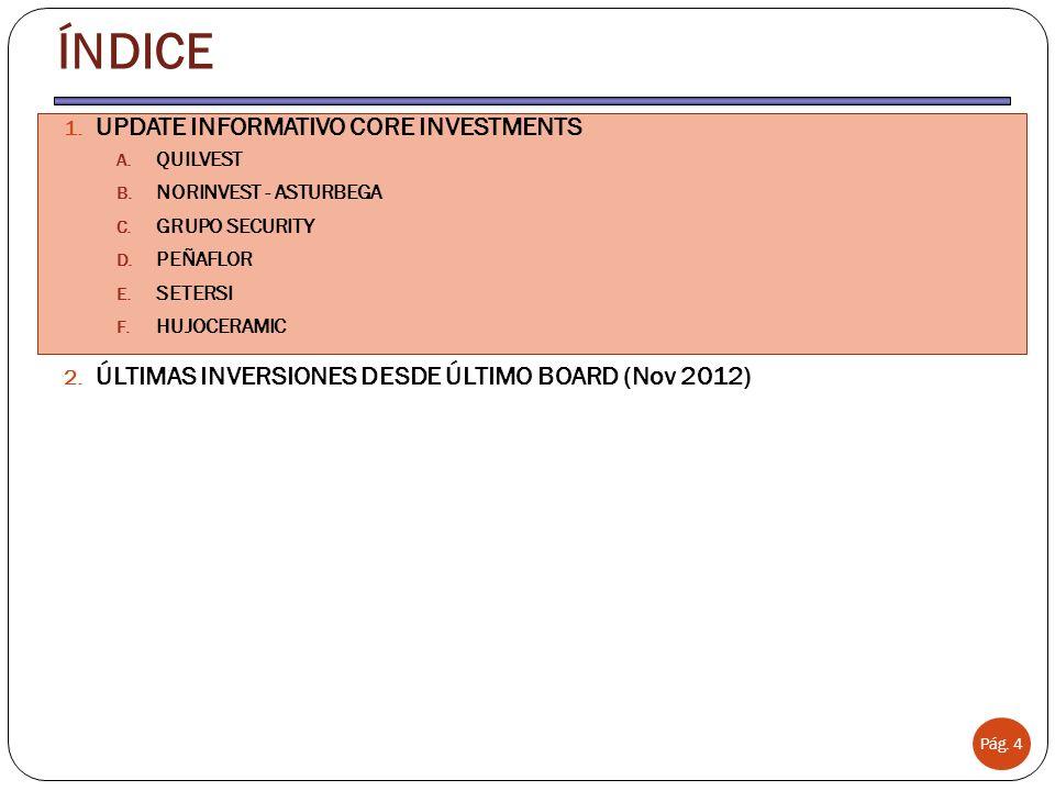 UPDATE INFORMATIVO CORE INVESTMENTS QUILVEST www.quilvest.com GRUPO ARCONAS Pág. 5