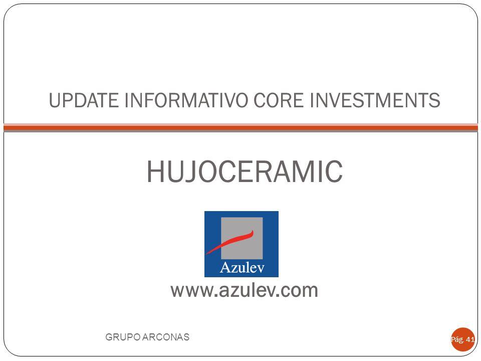 UPDATE INFORMATIVO CORE INVESTMENTS HUJOCERAMIC www.azulev.com GRUPO ARCONAS Pág. 41