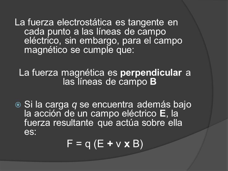 La fuerza electrostática es tangente en cada punto a las líneas de campo eléctrico, sin embargo, para el campo magnético se cumple que: La fuerza magnética es perpendicular a las líneas de campo B Si la carga q se encuentra además bajo la acción de un campo eléctrico E, la fuerza resultante que actúa sobre ella es: F = q (E + v x B)