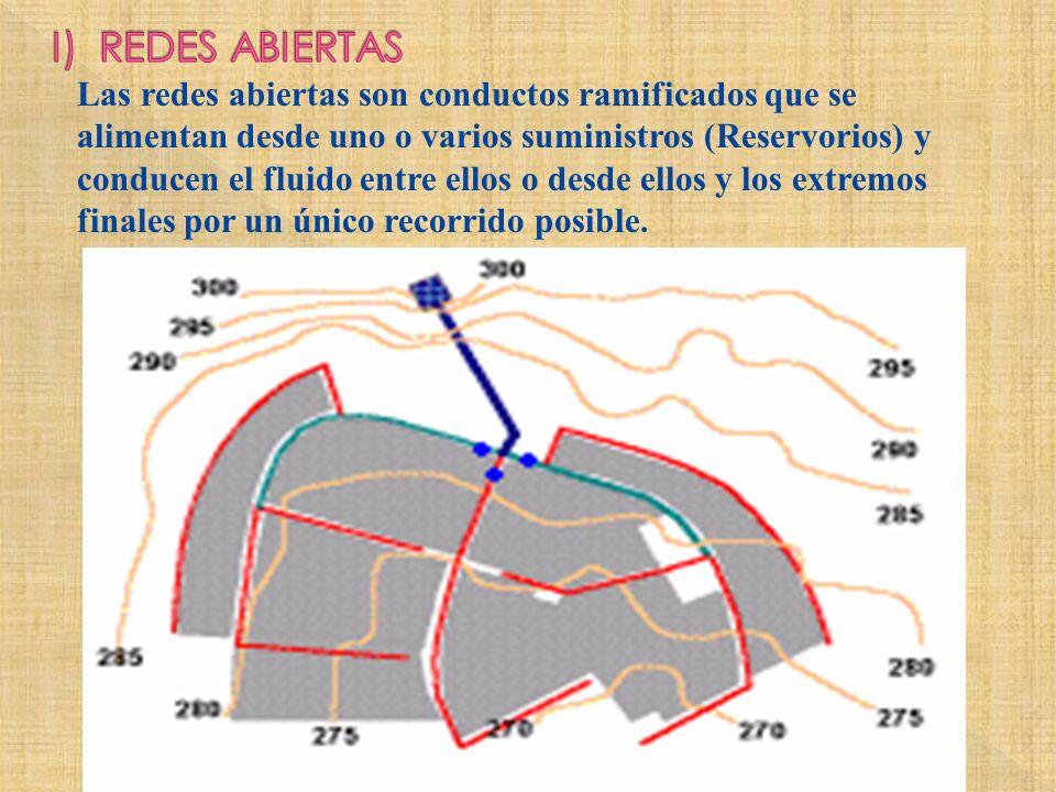 Las redes abiertas son conductos ramificados que se alimentan desde uno o varios suministros (Reservorios) y conducen el fluido entre ellos o desde el
