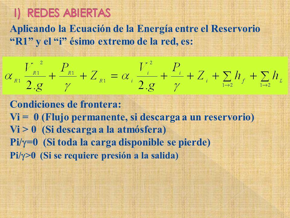 Aplicando la Ecuación de la Energía entre el Reservorio R1 y el i ésimo extremo de la red, es: Condiciones de frontera: Vi = 0 (Flujo permanente, si d