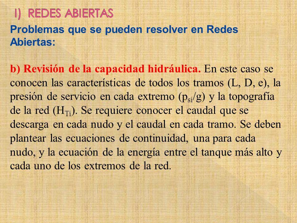 Problemas que se pueden resolver en Redes Abiertas: b) Revisión de la capacidad hidráulica. En este caso se conocen las características de todos los t