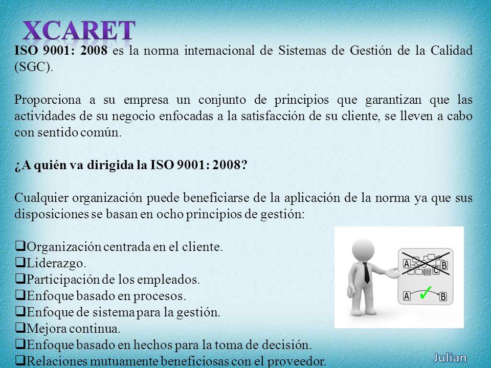 ISO 9001: 2008 es la norma internacional de Sistemas de Gestión de la Calidad (SGC). Proporciona a su empresa un conjunto de principios que garantizan