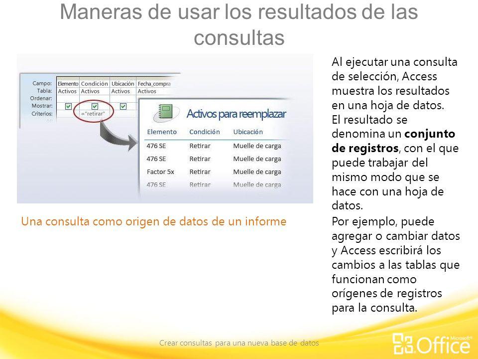 Maneras de usar los resultados de las consultas Crear consultas para una nueva base de datos Una consulta como origen de datos de un informe Al ejecut