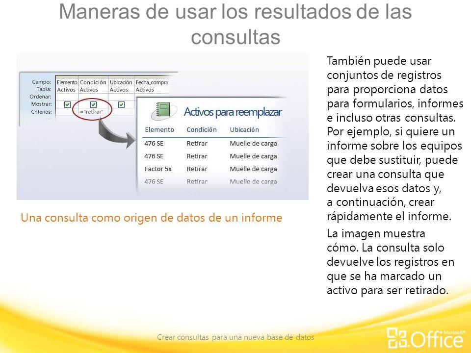 Maneras de usar los resultados de las consultas Crear consultas para una nueva base de datos Una consulta como origen de datos de un informe También p