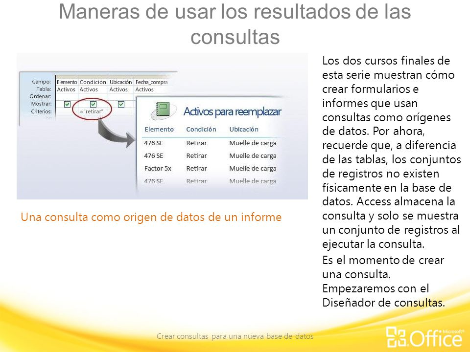 Maneras de usar los resultados de las consultas Crear consultas para una nueva base de datos Una consulta como origen de datos de un informe Los dos c