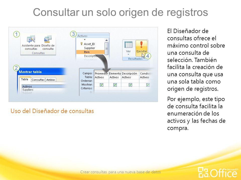 Consultar un solo origen de registros Crear consultas para una nueva base de datos Uso del Diseñador de consultas El Diseñador de consultas ofrece el máximo control sobre una consulta de selección.