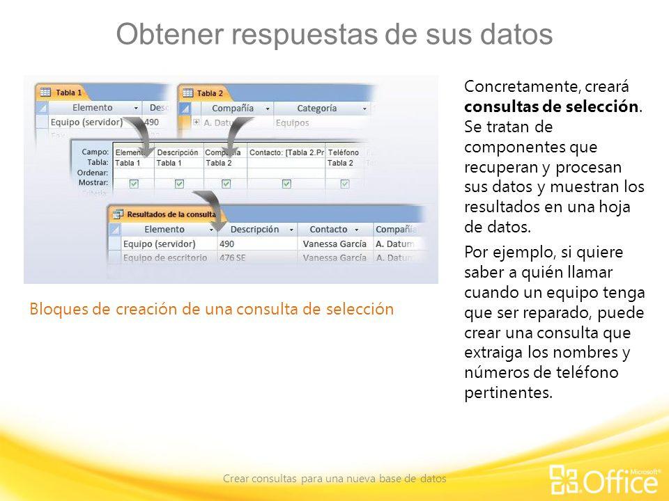 Obtener respuestas de sus datos Crear consultas para una nueva base de datos Bloques de creación de una consulta de selección Concretamente, creará consultas de selección.