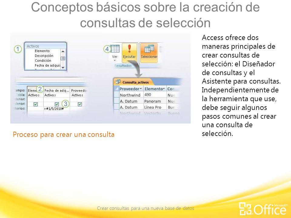 Conceptos básicos sobre la creación de consultas de selección Crear consultas para una nueva base de datos Proceso para crear una consulta Access ofrece dos maneras principales de crear consultas de selección: el Diseñador de consultas y el Asistente para consultas.