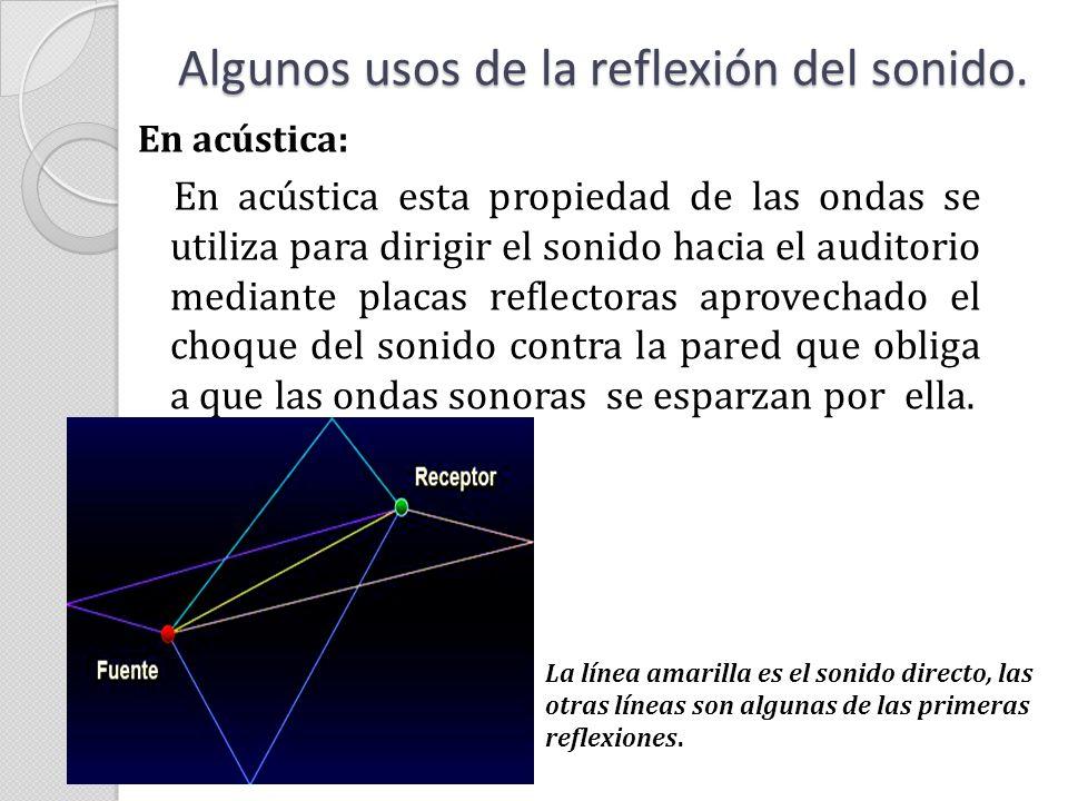 En acústica: En acústica esta propiedad de las ondas se utiliza para dirigir el sonido hacia el auditorio mediante placas reflectoras aprovechado el c