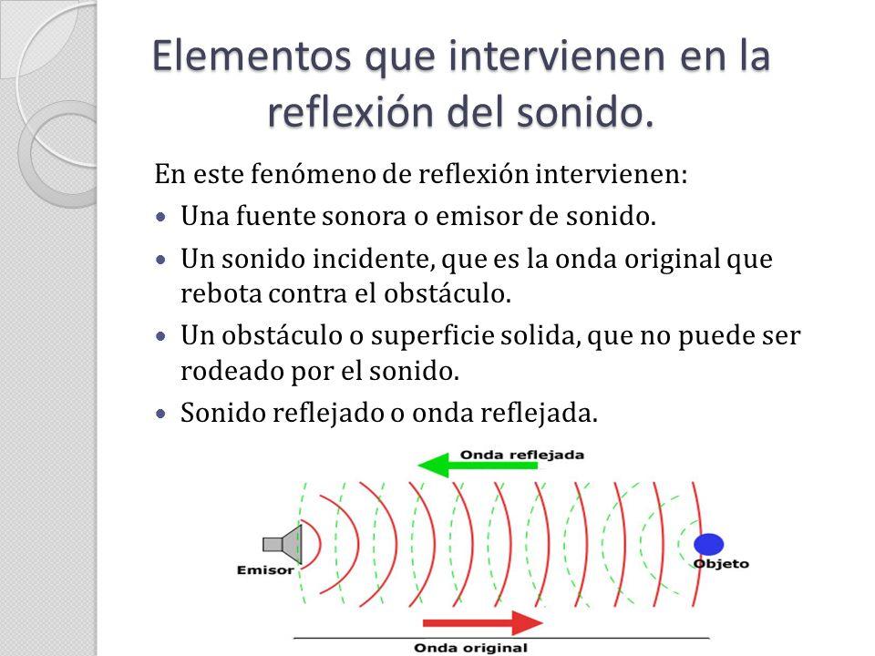 Elementos que intervienen en la reflexión del sonido. En este fenómeno de reflexión intervienen: Una fuente sonora o emisor de sonido. Un sonido incid