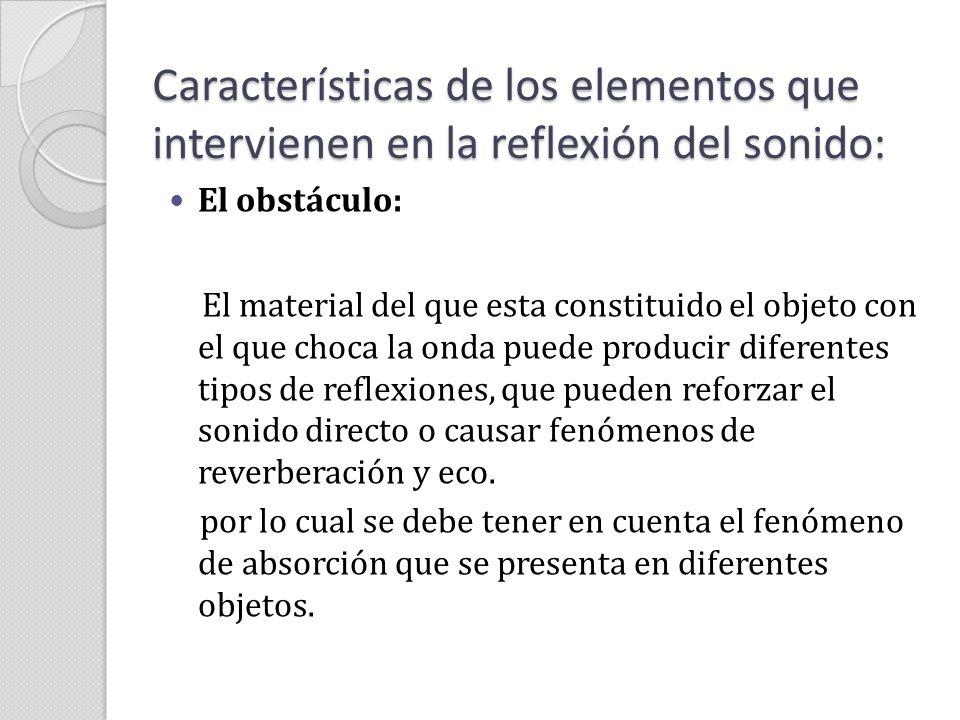 Características de los elementos que intervienen en la reflexión del sonido: El obstáculo: Tabla de los coeficientes de reflexión de los principales materiales de construcción y decoración.