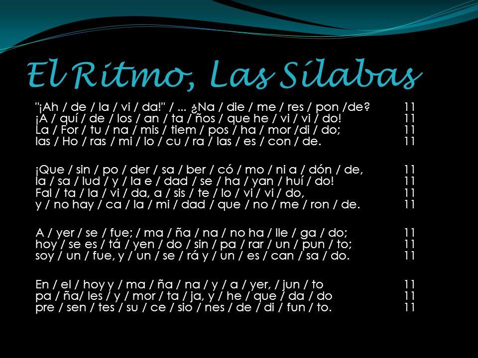 El Ritmo, Las Sílabas