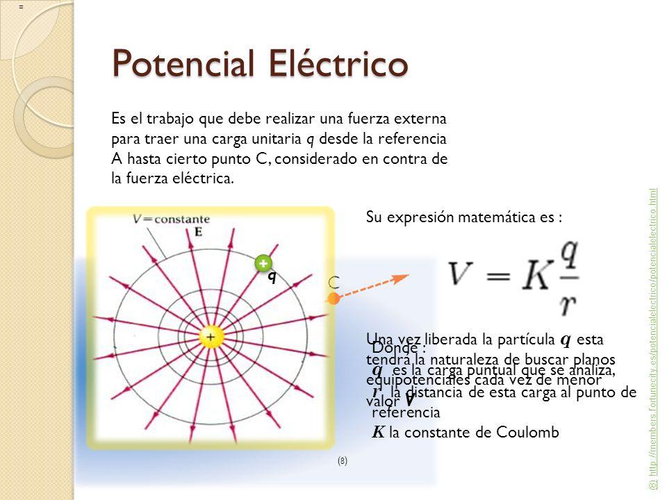 Potencial Eléctrico Es el trabajo que debe realizar una fuerza externa para traer una carga unitaria q desde la referencia A hasta cierto punto C, con