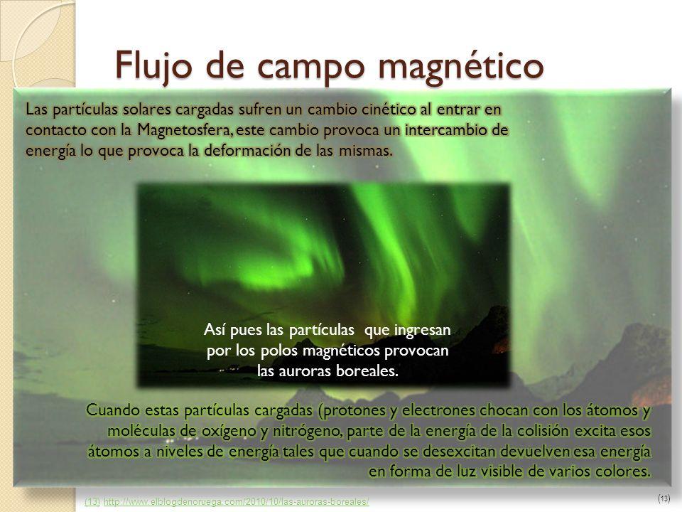 Flujo de campo magnético Así pues las partículas que ingresan por los polos magnéticos provocan las auroras boreales. (13)(13) http://www.elblogdenoru