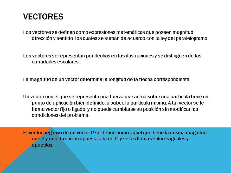VECTORES Los vectores se definen como expresiones matemáticas que poseen magnitud, dirección y sentido, los cuales se suman de acuerdo con la ley del