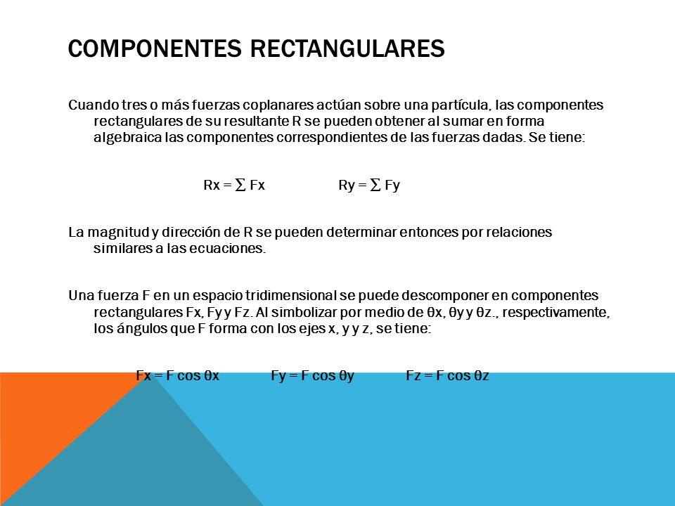 COMPONENTES RECTANGULARES Cuando tres o más fuerzas coplanares actúan sobre una partícula, las componentes rectangulares de su resultante R se pueden