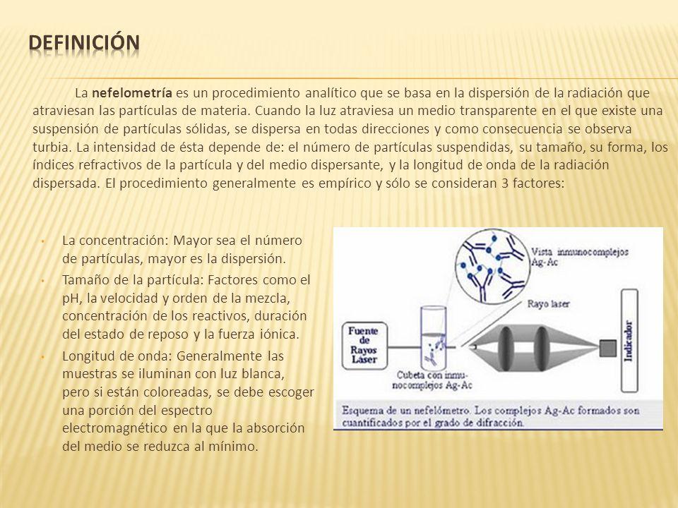 La nefelometría es un procedimiento analítico que se basa en la dispersión de la radiación que atraviesan las partículas de materia. Cuando la luz atr