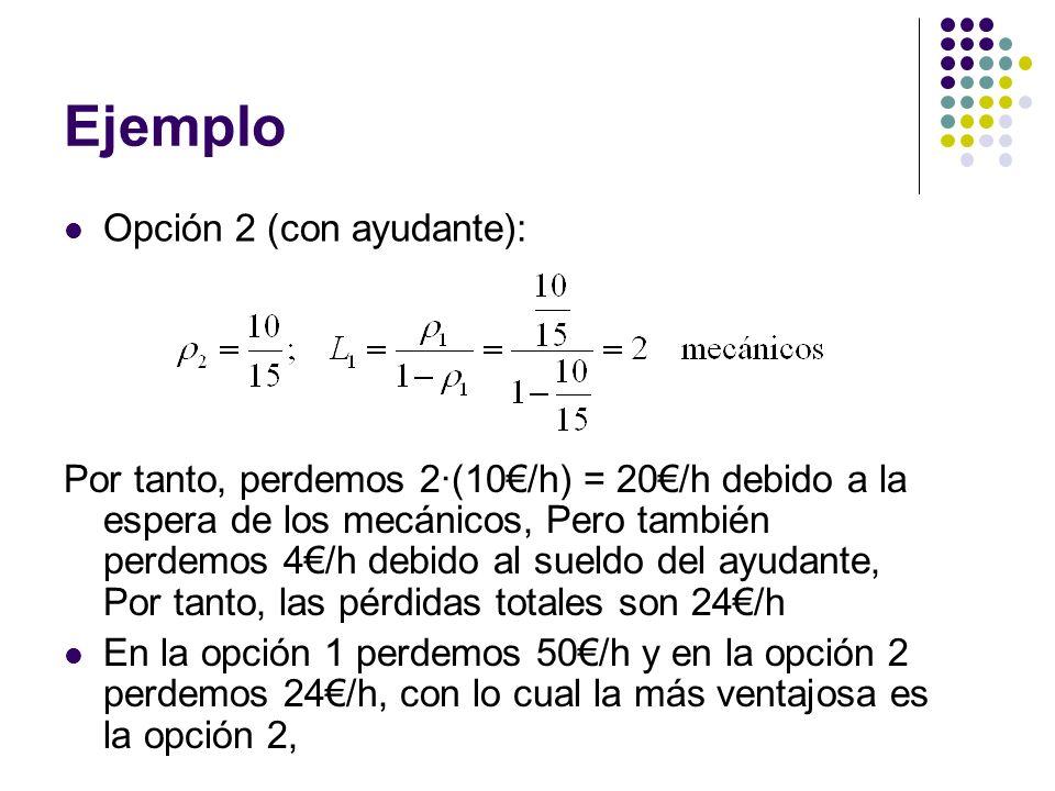 Ejemplo Opción 2 (con ayudante): Por tanto, perdemos 2·(10/h) = 20/h debido a la espera de los mecánicos, Pero también perdemos 4/h debido al sueldo d