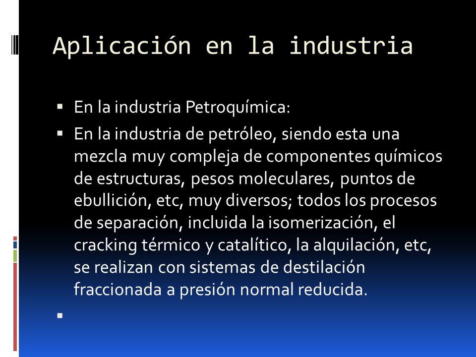 Aplicación en la industria En la industria Petroquímica: En la industria de petróleo, siendo esta una mezcla muy compleja de componentes químicos de e