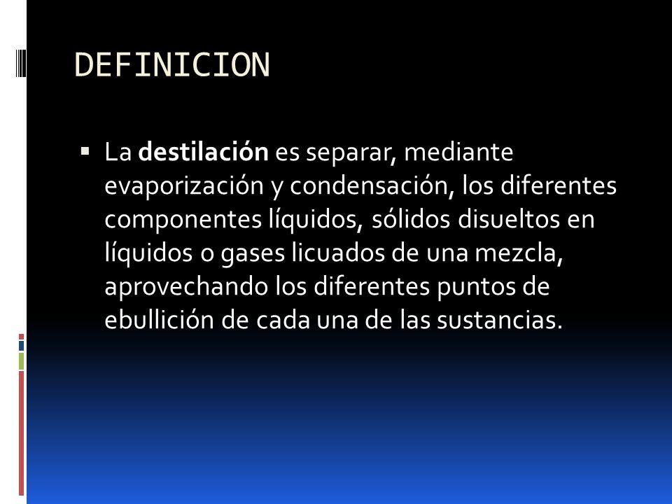 DEFINICION La destilación es separar, mediante evaporización y condensación, los diferentes componentes líquidos, sólidos disueltos en líquidos o gase
