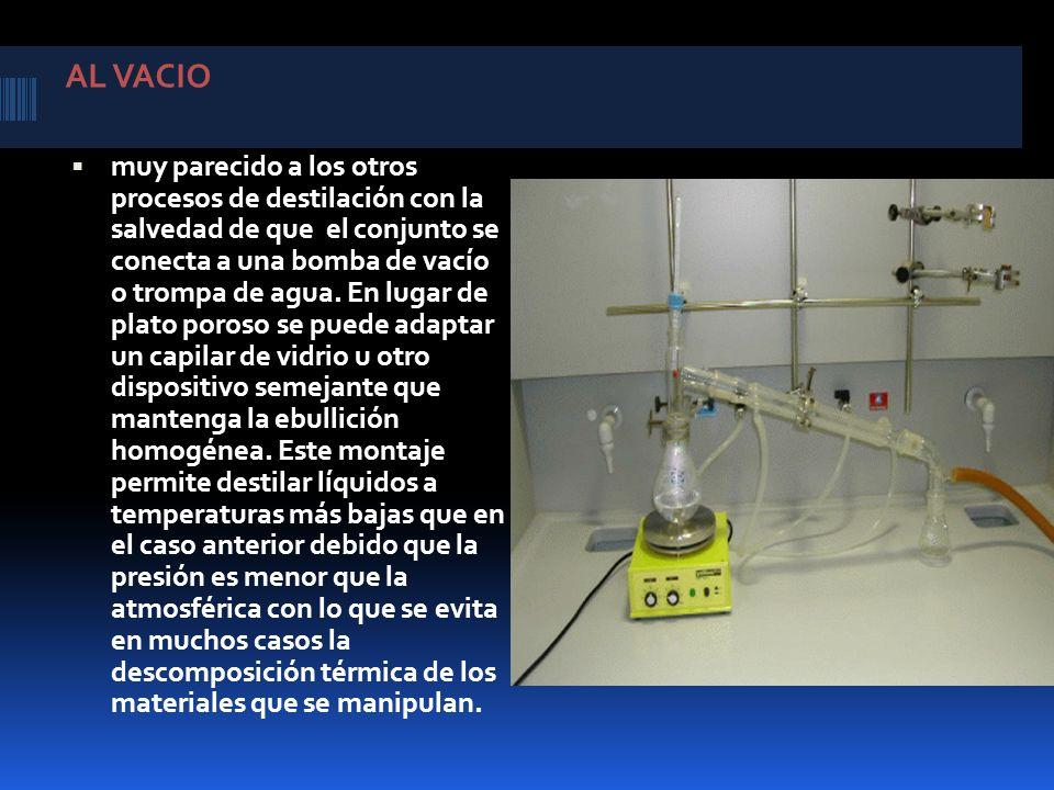 AL VACIO muy parecido a los otros procesos de destilación con la salvedad de que el conjunto se conecta a una bomba de vacío o trompa de agua. En luga
