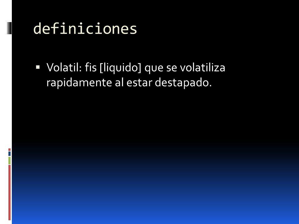 definiciones Volatil: fis [liquido] que se volatiliza rapidamente al estar destapado.