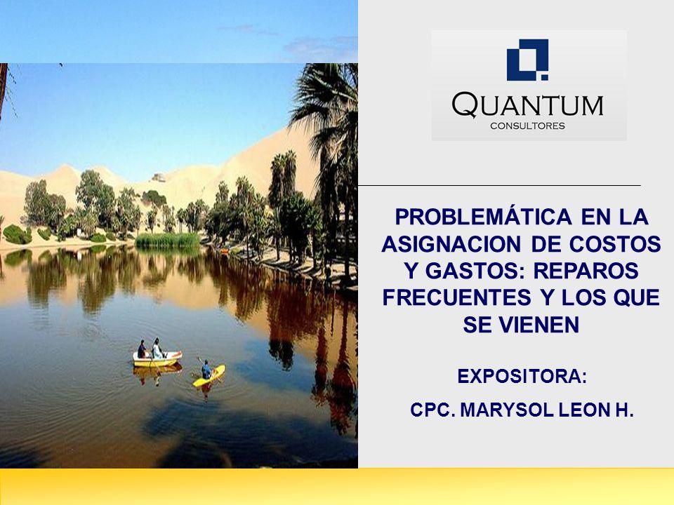 PROBLEMÁTICA EN LA ASIGNACION DE COSTOS Y GASTOS: REPAROS FRECUENTES Y LOS QUE SE VIENEN EXPOSITORA: CPC. MARYSOL LEON H.