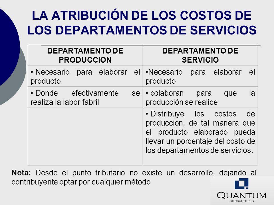 LA ATRIBUCIÓN DE LOS COSTOS DE LOS DEPARTAMENTOS DE SERVICIOS DEPARTAMENTO DE PRODUCCION DEPARTAMENTO DE SERVICIO Necesario para elaborar el producto