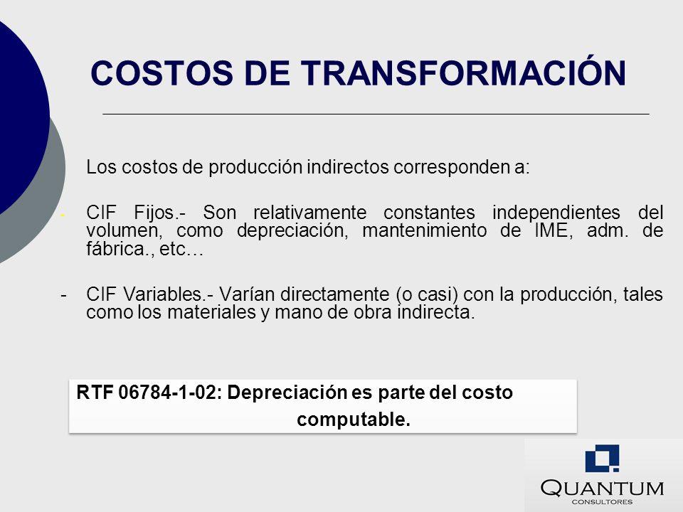 Los costos de producción indirectos corresponden a: - CIF Fijos.- Son relativamente constantes independientes del volumen, como depreciación, mantenim