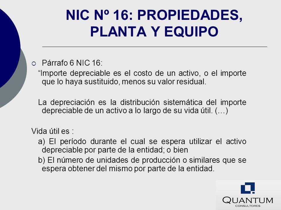 NIC Nº 16: PROPIEDADES, PLANTA Y EQUIPO Párrafo 6 NIC 16: Importe depreciable es el costo de un activo, o el importe que lo haya sustituido, menos su