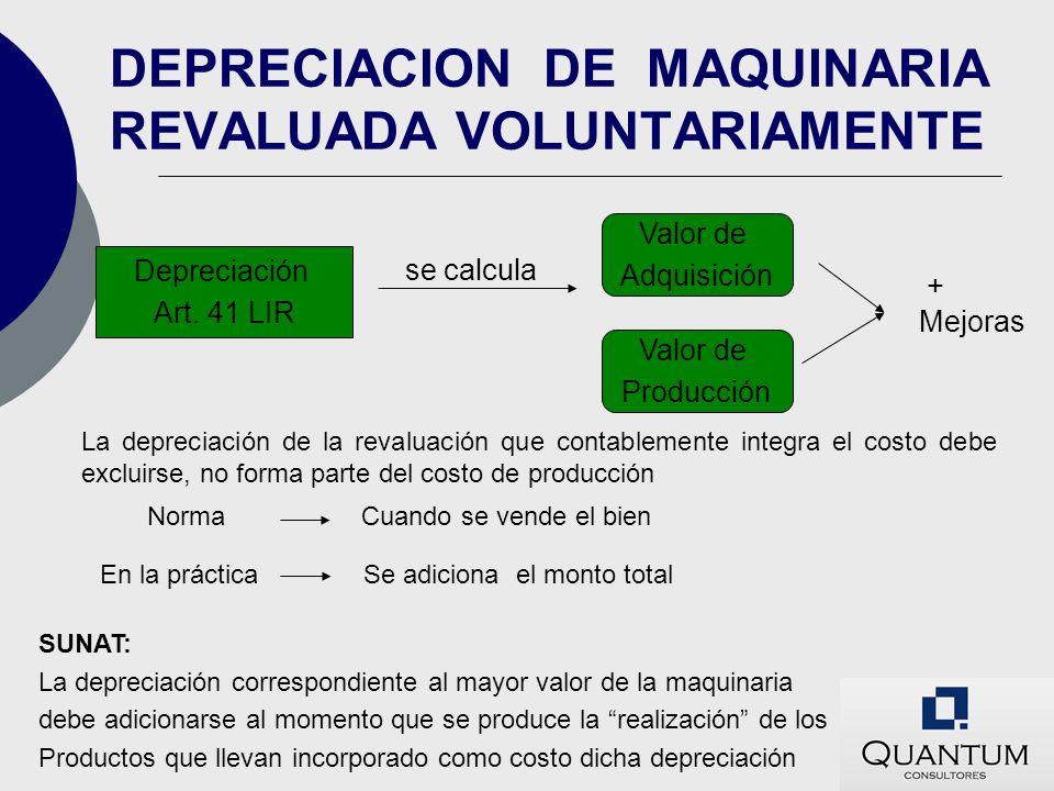 DEPRECIACION DE MAQUINARIA REVALUADA VOLUNTARIAMENTE Depreciación Art. 41 LIR se calcula Valor de Adquisición Valor de Producción + Mejoras La depreci