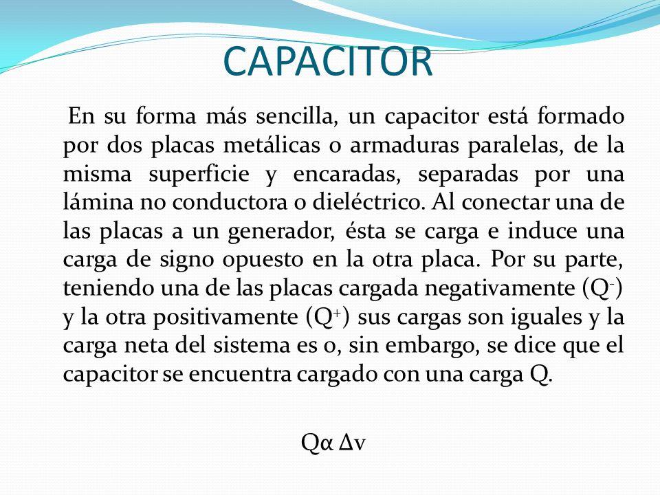 CAPACITOR En su forma más sencilla, un capacitor está formado por dos placas metálicas o armaduras paralelas, de la misma superficie y encaradas, sepa