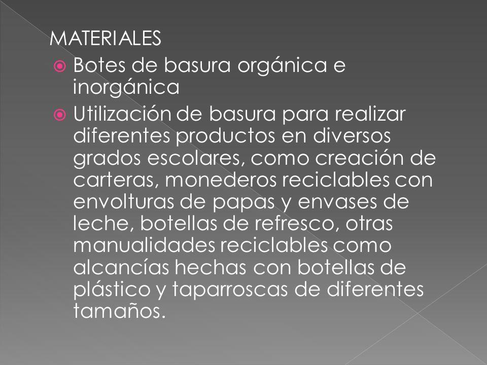 MATERIALES Botes de basura orgánica e inorgánica Utilización de basura para realizar diferentes productos en diversos grados escolares, como creación de carteras, monederos reciclables con envolturas de papas y envases de leche, botellas de refresco, otras manualidades reciclables como alcancías hechas con botellas de plástico y taparroscas de diferentes tamaños.