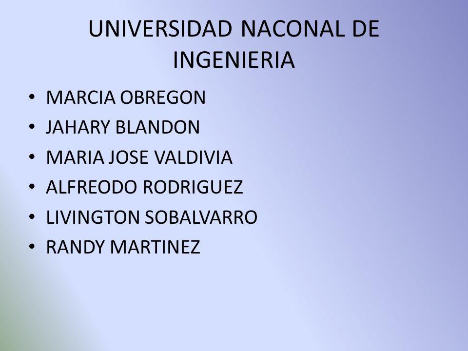 UNIVERSIDAD NACONAL DE INGENIERIA MARCIA OBREGON JAHARY BLANDON MARIA JOSE VALDIVIA ALFREODO RODRIGUEZ LIVINGTON SOBALVARRO RANDY MARTINEZ