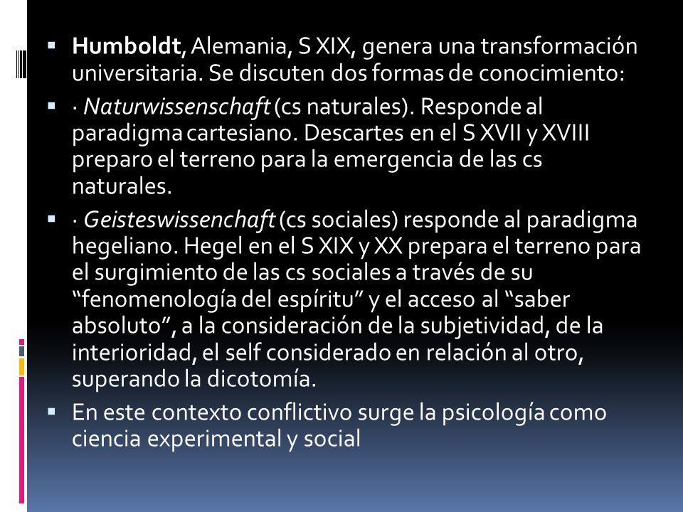 Humboldt, Alemania, S XIX, genera una transformación universitaria. Se discuten dos formas de conocimiento: · Naturwissenschaft (cs naturales). Respon